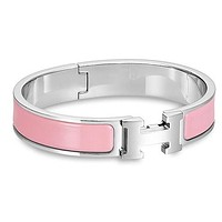 Hermes men and women tide enamel Palladium wide palladium bracelet F Light Pink+Silver