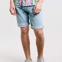 Dotted Bleach Washed Slim Fit Shorts