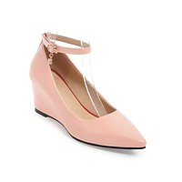 Pointed Toe Ankle Straps Wedge Heels Shoes MF5789