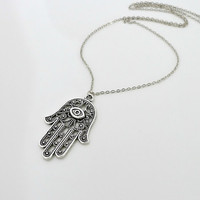 Hamsa Hand Necklace, Antique silver charm pendant necklace, Fatima, amulet jewelry, lucky gift, by balance9