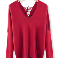 'The Cianna' Red Long Sleeve Vneck  Knitted Top