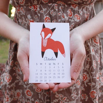 2014 Illustrated Little Foxes Calendar with Display Easel