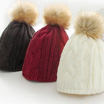 Fur Ball Knitted Stretch Hat