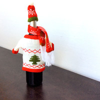 Knit Ugly Christmas Sweater For Your Bottle of Wine (+Hat & Scarf)
