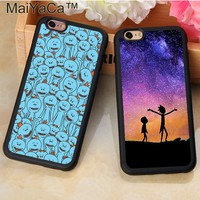 MaiYaCa Cartoon Rick and Morty Printed Soft TPU Mobile Phone Cases For Fundas iPhone 6 6S Plus 7 7Plus 5 5S SE Back Shell Cover