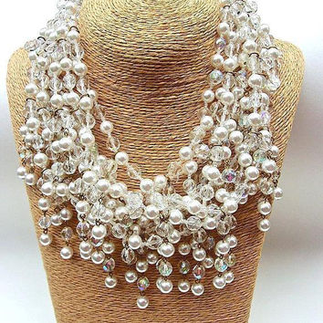 Glass Pearls & AB Crystals Festoon Necklace, 8 Multi Strand Dangles, Haute Couture, Vintage