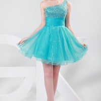 Dark Turquoise Sequins Beaded One Shoulder Strappy Homecoming Dress
