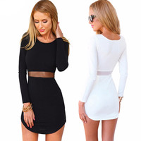 Black Knitted Short Mini Dress