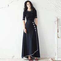 VERRAGEE Maxi A-line Skirts Brand 2017 Autumn New Vintage High Waist Pleated Elegant Black Solid Color Casual Long Skirt