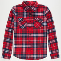 Shouthouse Cedar Mill Boys Flannel Shirt Red  In Sizes