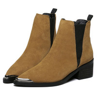 Light Brown Suedette Stretch Side Pointed Ankle Boots