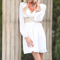 Wrapped in Sequins Dress White CLEARANCE