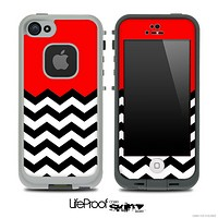 Red Black and White Chevron Pattern V3 Skin for the iPhone 5 or 4/4s LifeProof Case