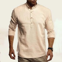 Fashion Casual Men Button Front Polo Shirt