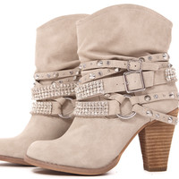 Cream Faux Leather Strappy Studded Boot