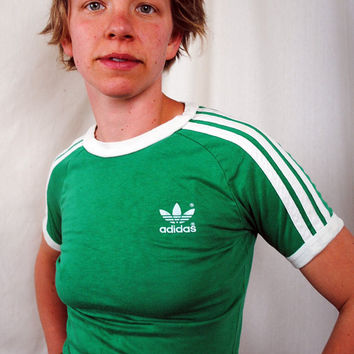 Vintage 80s Green Adidas Shirt  XS by RogueRetro on Etsy