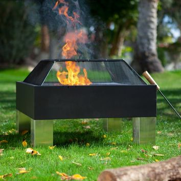 Fire Sense Square Hotspot Fire Pit with Cooking Grate | www.hayneedle.com