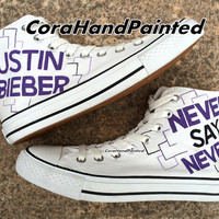 Never Say Never Custom Converse Hand Painted Shoes White Purple Canvas Shoes Custom Unique Birthday Gifts