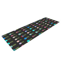 "Monika Strigel ""Pineapple People Black"" Black Multicolor Yoga Mat"