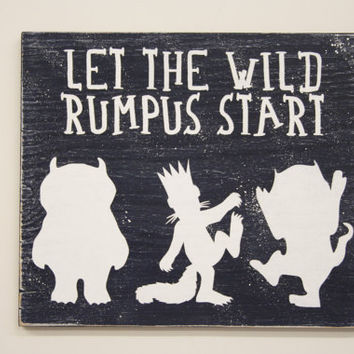 Let The Wild Rumpus Start Wood Sign Where The Wild Things Are Nursery Decor Navy And White Nursery Boys Nursery Girls Nursery Over Crib Sign