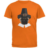 Thanksgiving Funny Pug Pilgrim Mandarin Adult T-Shirt