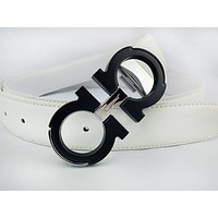 Ferragamo sells fashionable casual leather belts for men and women White