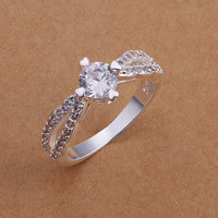 Silver Round Cubic Zirconia Ring