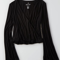 AEO Soft & Sexy Wrap Shirt , Black | American Eagle Outfitters