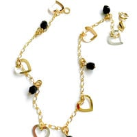 Heart Charms Black Beads 18kts Gold Plated Bracelet