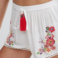 Floozie Embroidered Beach Shorts at asos.com