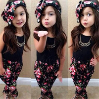 Time-limited Stylish Girls Sport Cute Clothes Sleeveless Shirt+ Floral Pants Headband 3pcs Vogue Baby Clothing For 2-7y