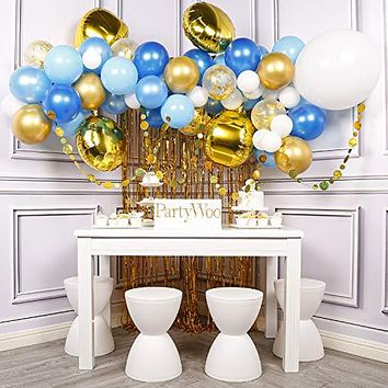 PartyWoo Blue and Gold Balloons Garland Kit, Gold Foil Balloons, Gold Dots Garland, Gold Foil Fringe Curtain, Gold 4D Balloon, Blue Balloons, Gold Confetti Balloons for Blue and Gold Party Decorations