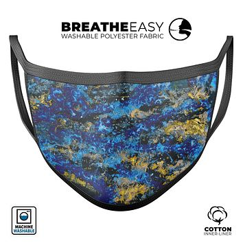 Abstract Blue Wet Paint - Made in USA Mouth Cover Unisex Anti-Dust Cotton Blend Reusable & Washable Face Mask with Adjustable Sizing for Adult or Child