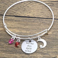 12pcs/lot Alice in Wonderland inspired Cheshire Cat bracelet We're all mad here Fairytale Jewelry bangle