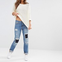 Noisy May | Noisy May Destroyed Boyfriend Jeans with Patch Rips at ASOS