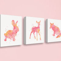 Baby Girl Nursery, Canvas Nursery Decor, Woodland Animals, Girls Wall Art, Girls Room, Bunny, Fawn, Fox, Watercolor Animals, Set of 3 Canvas