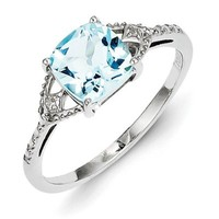 Sterling Silver Rhodium Plated Diamond and Sky Blue Topaz Ring Size 6