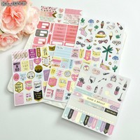 KLJUYP Happy Unicorn Foil Gold Paper Planner Stickers Booklet for Scrapbooking Happy Planner/Card Making/Journaling Project