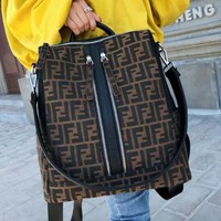 FENDI 2018 new classic double F letter print fashion wild backpack