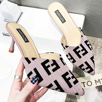 FENDI Fashion Women F Letter Pointed High Heels Sandals Shoes Pink&Purple