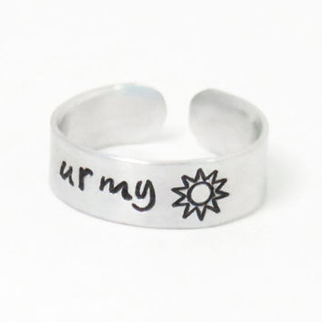You are my sunshine ring - gift for daughter - gift for mom - girlfriend gift - Grandma gift - Sun ring - BFF gift