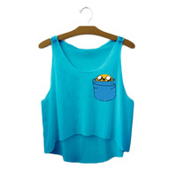 Women's Adventure Time Jake The Dog Cute Sexy Girl Cropped Sports Summer Harajuku Style Camisole Youth Blue Tank Top Crop Top