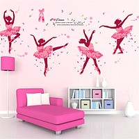 Four Pink Girls Dancing Ballet Wall Stickers Romantic Cute Decals For Kid Girl Training Room Butterfly Vinyl Wall Art Home Decor