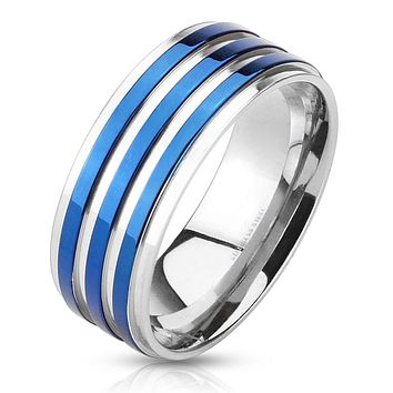 Skyfall - FINAL SALE Triple blue IP band silver stainless steel men's ring
