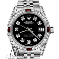 Women's SS Rolex 31mm Datejust Black Color Diamond Accent Dail with Ruby Bezel
