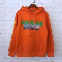 2018 Kanye West Season 5 OVERSIZE Wyoming mountains Pattern letter printing Men Hoodie Pullover hip hop Casual Sweatshirt 3Color