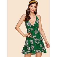 Green Knot Open Back Floral Mini Dress