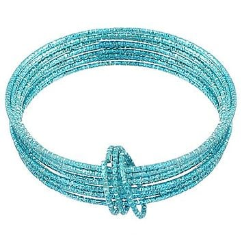 Blue Thin Multi Line Bangle Bracelets