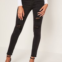 Missguided - Black Sinner Highwaisted Authentic Ripped Skinny Jeans