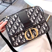 Dior 2019 new D letter small square bag canvas shoulder bag Messenger bag